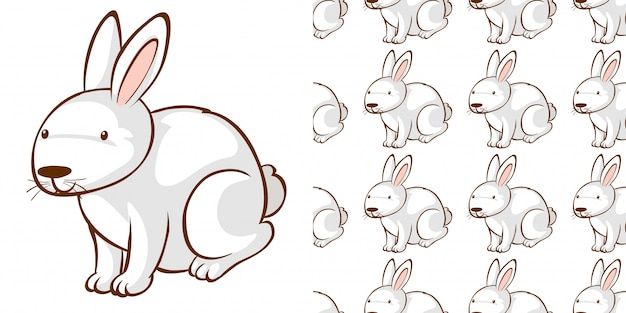 Design with seamless pattern white bunny