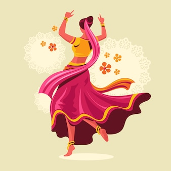 Design of woman playing garba dance for festival of india