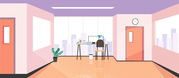 The design of a workplace, a modern office, a creative office workspace with large windows, interior furniture illustration in flat design, website banner
