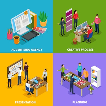 Designeの創造的なプロセスのプレゼンテーション計画の作業場所と広告代理店等尺性デザインコンセプト