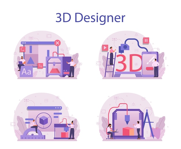 デザイナー3dモデリングコンセプトセット