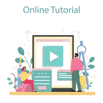 デザイナーの3dモデリングオンラインサービスまたはプラットフォーム。電子ツールと機器を使用したデジタル描画。オンラインビデオチュートリアル。
