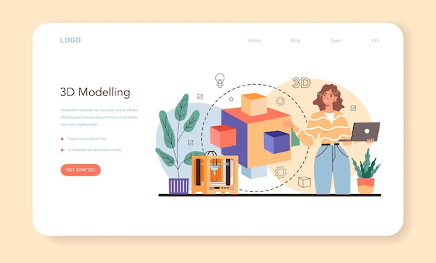 Designer 3d web banner or landing page. digital drawing with electronic tools and equipment. 3d printer equipment and engineering. modern prototyping and construction. isolated vector illustration