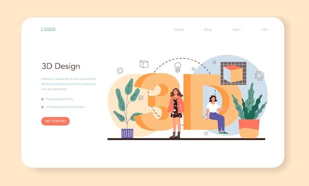 Designer 3d web banner or landing page. digital drawing