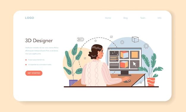 Designer 3d web banner or landing page. isolated vector illustration