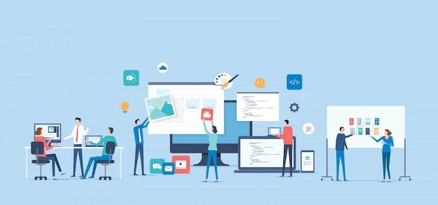 디자이너 및 개발자 팀 작업 협업 개념