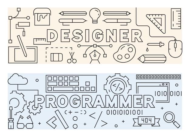 Дизайнер и программист концепция дизайна тонкая линия.