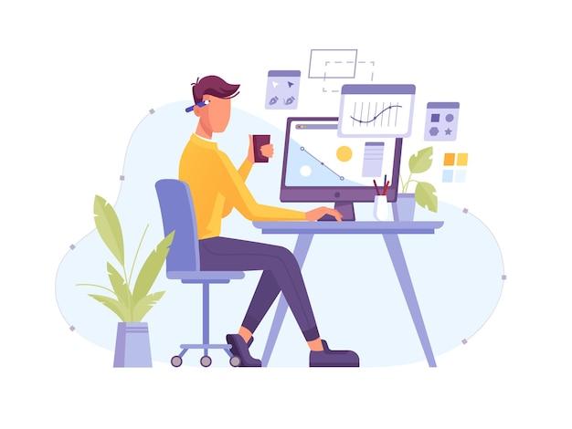 Дизайнер на работе в дизайн-студии, работая за компьютером с цифровым пером и графическим дизайнером планшета