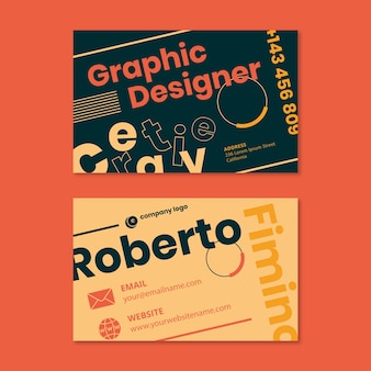 Концепция шаблона визитной карточки дизайнера