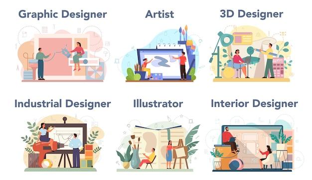 디자이너 컨셉 세트. 그래픽, 3d, 인테리어, 산업 디자이너, 일러스트 레이터, 아티스트. 취미와 현대 직업의 수집.