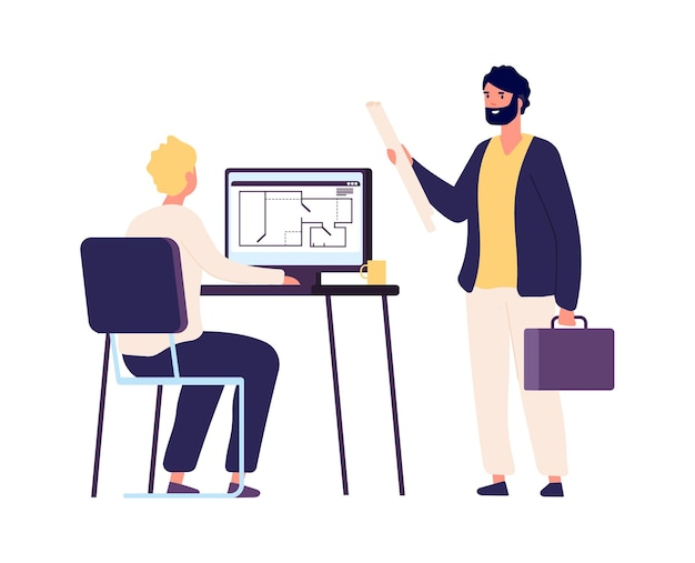 Designer and customer. flat man with project, architect work with appartment plan. design studio worker vector illustration. designer drawing design project, engineer and architect