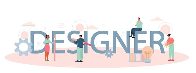 Designer or digital illustrator typographic header concept.