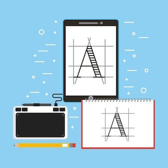 디자이너 드로잉 태블릿 책 연필과 펜 디지털