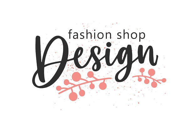 Designer fashion shop handwritten color lettering. brushstroke boutique name cursive inscription with floral elements isolated vector calligraphy. store logo design with calligraphic typography.