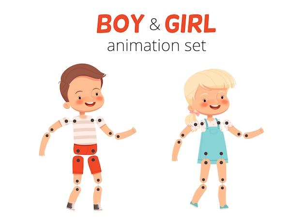 소년과 소녀의 움직임을 애니메이션화하는 디자이너 어린이의 골격 애니메이션 세트 신체의 움직이는 부분을 분리 만화 플랫