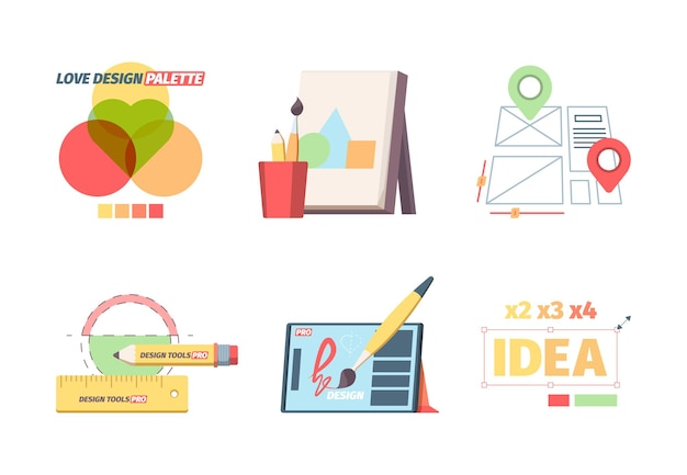 Designer graphic tools set. creative color selection palette development website layout canvas with abstract geometric shapes magnification of word idea graphical editor.