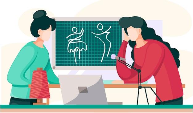 Дизайнер в красном свитере общается с заказчиком о обновках