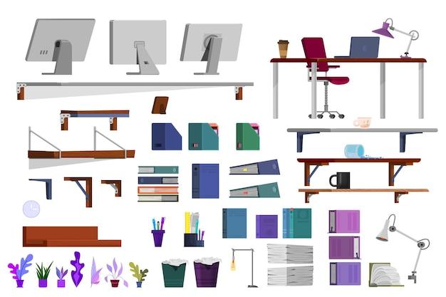 홈 만화 스타일의 디자이너 인테리어 사무실 작업 공간.