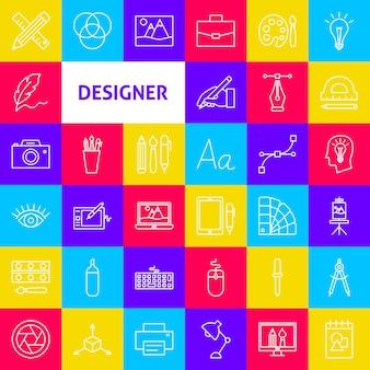 디자이너 라인 아이콘입니다. 벡터 얇은 개요 예술 기호입니다.