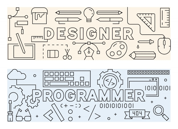 Designer and programmer stuff. thin line design concept.