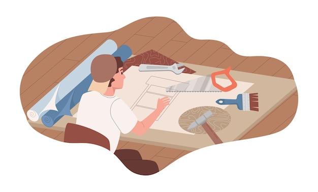 Дизайнер проектирует дизайн стула иллюстрации