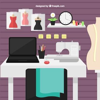 Рабочее пространство дизайнера с плоской конструкцией