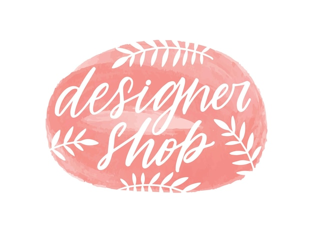 Designer shop handwritten color lettering. brushstroke store name cursive inscription with botanical elements isolated vector calligraphy. calligraphic typography, fashion boutique logo design.