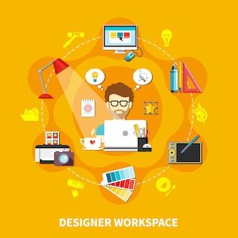 Designer tools flat composition