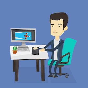 Дизайнер с использованием цифрового графического планшета.