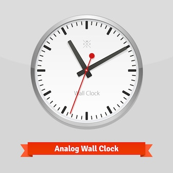 Designer wall clock in a metal casing