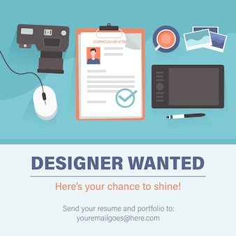 Designer wanted staffing and recruiting business concept