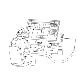 Designer working on new project at computer black line pencil drawing vector. graphic designer man work at workspace, drawing creative sketch design. character creativity idea occupation illustration
