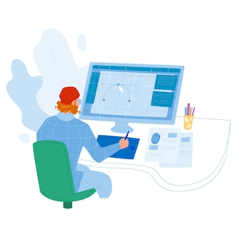 Designer working on new project at computer vector. graphic designer man work at workspace, drawing creative sketch design. character creativity idea occupation flat cartoon illustration