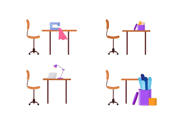 Designer workplace flat color object set. fashion craft workstation. workshop to tailor garment. clothes production isolated cartoon