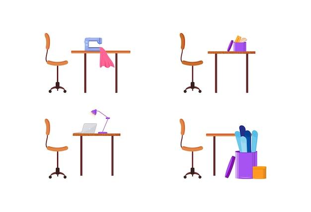 デザイナー職場フラットカラーオブジェクトセット。ファッションクラフトワークステーション。衣服を仕立てるためのワークショップ。洋服制作孤立漫画