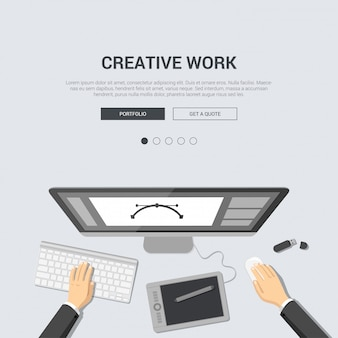 Designer workplace top view with paint tablet artist graphics editor interface on monitor illustration creative work flat design