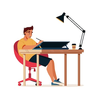 Designer works at design illustrator drawing at computer or tablet graphic design studio worker