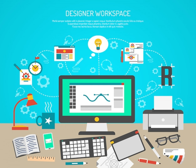 Designer workspace concept with flat graphic design tools and computer monitor