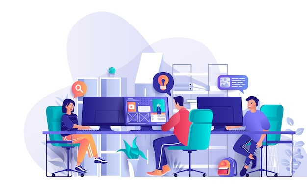 Designers agency flat design concept illustration of people characters