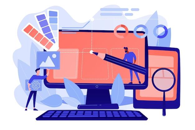デザイナーは、webページの設計に取り組んでいます。webデザインのユーザーインターフェイスとユーザーエクスペリエンスのコンテンツ編成