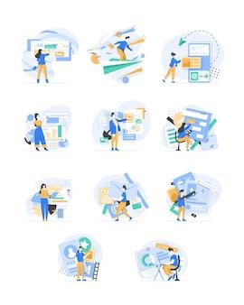 デザイナーはウェブページのデザインに取り組んでいますウェブデザインユーザーインターフェースuiとユーザーエクスペリエンスux