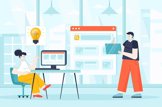 Designers concept in flat design illustration of people characters for landing page