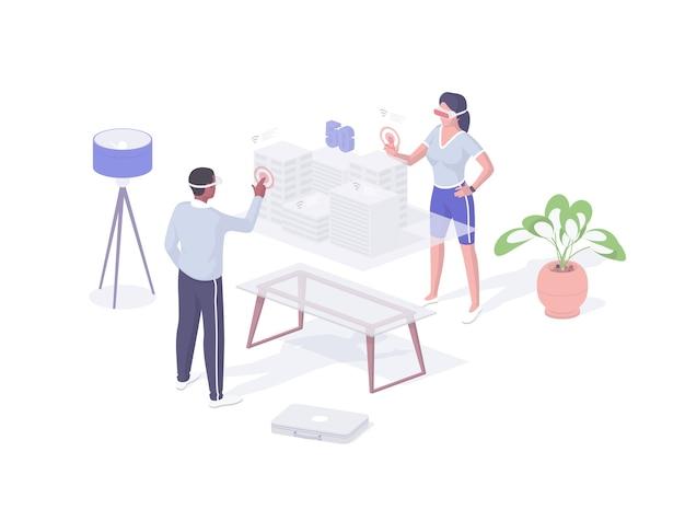 Дизайнеры создают проект в режиме vr изометрический вектор