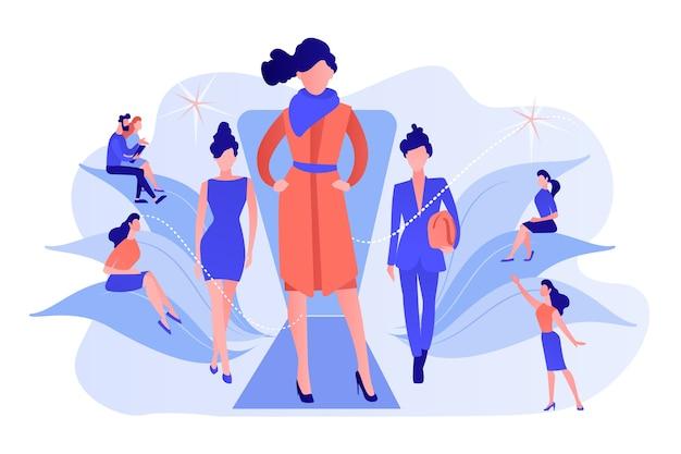 디자이너는 바이어와 미디어에게 런웨이 패션쇼의 최신 컬렉션을 전시합니다. 패션 위크, 패션 산업 이벤트, 활주로 패션쇼 컨셉. 분홍빛이 도는 산호 bluevector 고립 된 그림