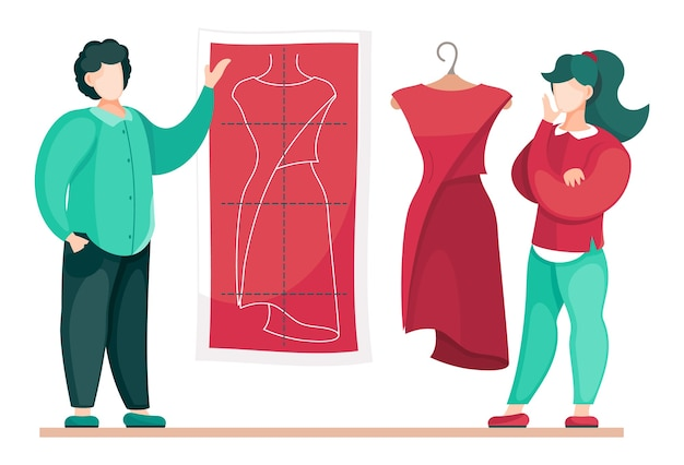 赤いドレスモデルで働くデザイナーやスタイリスト
