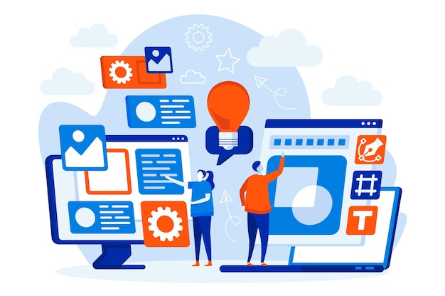사람들이 문자로 디자이너 팀 웹 개념