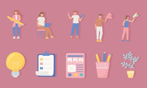 Designers team work and business elements