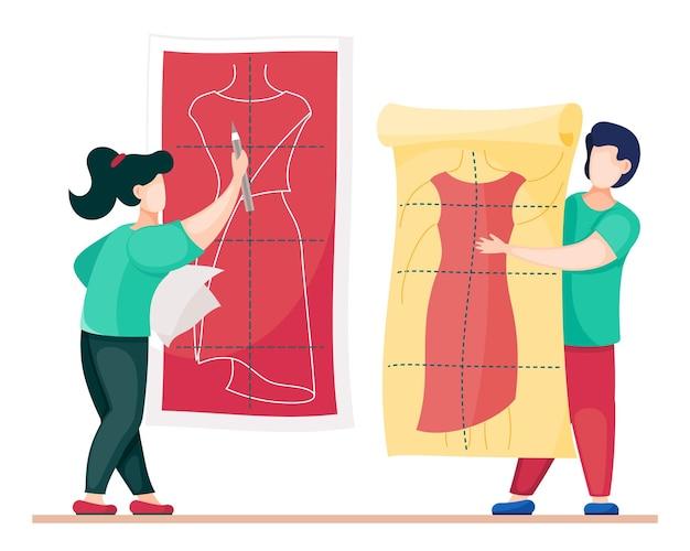 新しいドレスのモデルで働くデザイナー