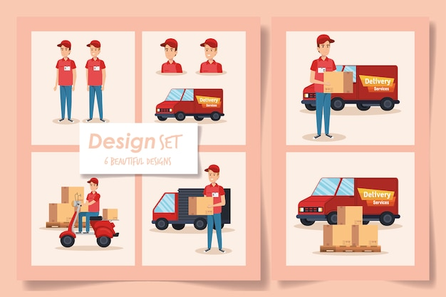 Designs of delivery service with workers and icons