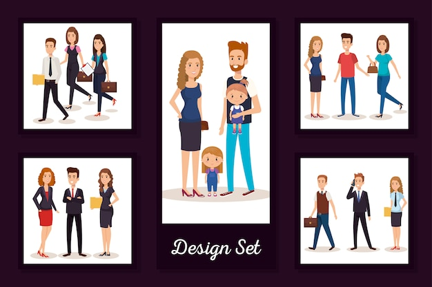 Designs set of business people and children